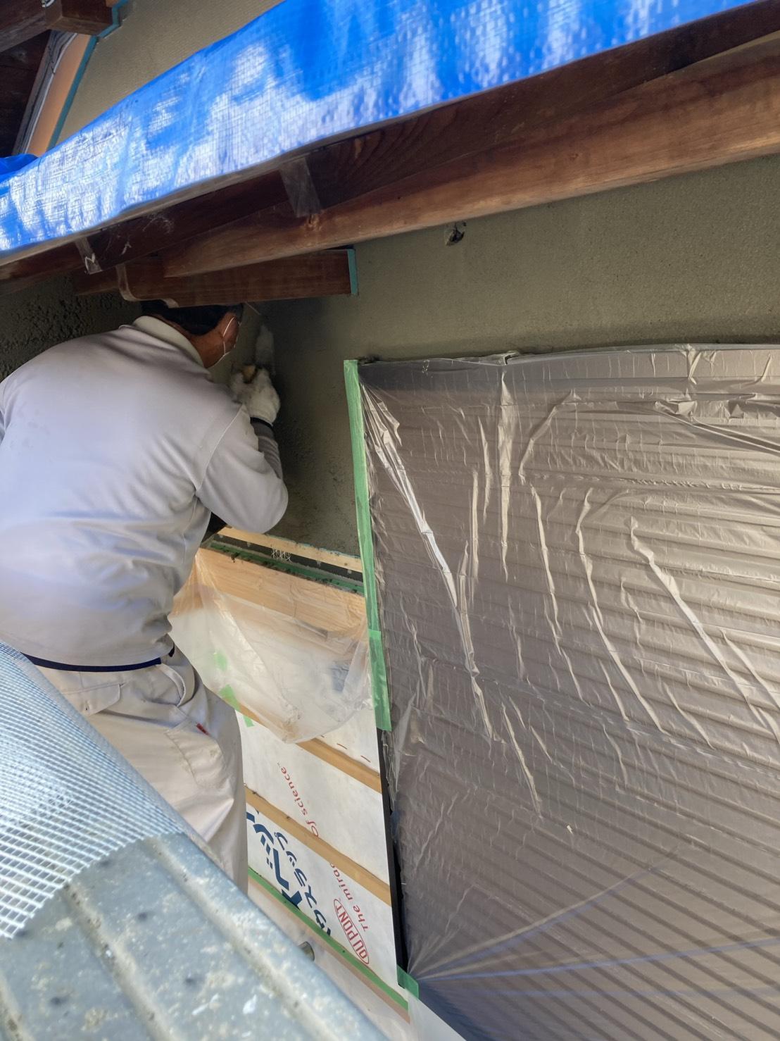 居宅増築に伴う外壁の漆喰の塗り替え